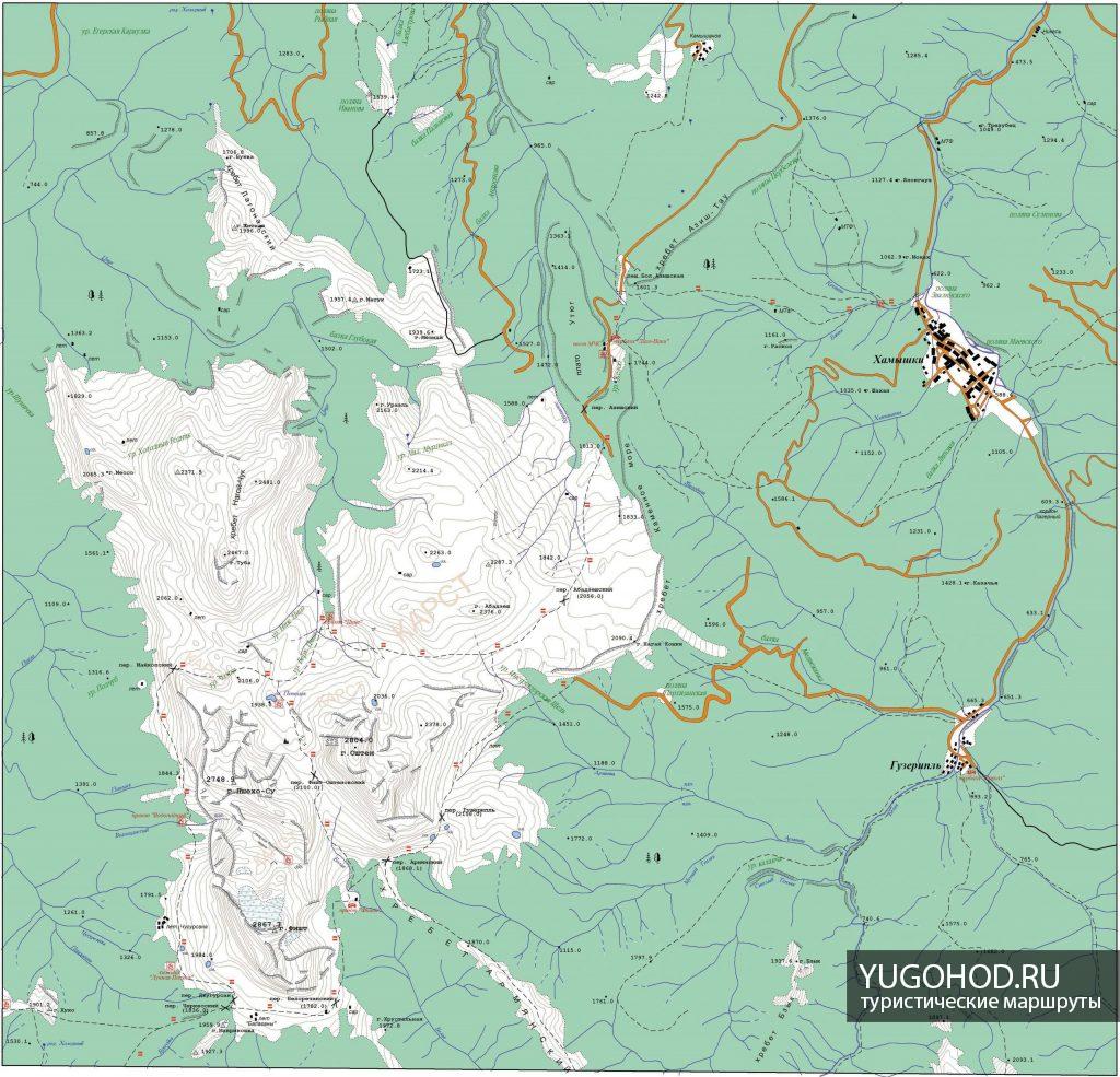 Карта Лагонакского нагорья