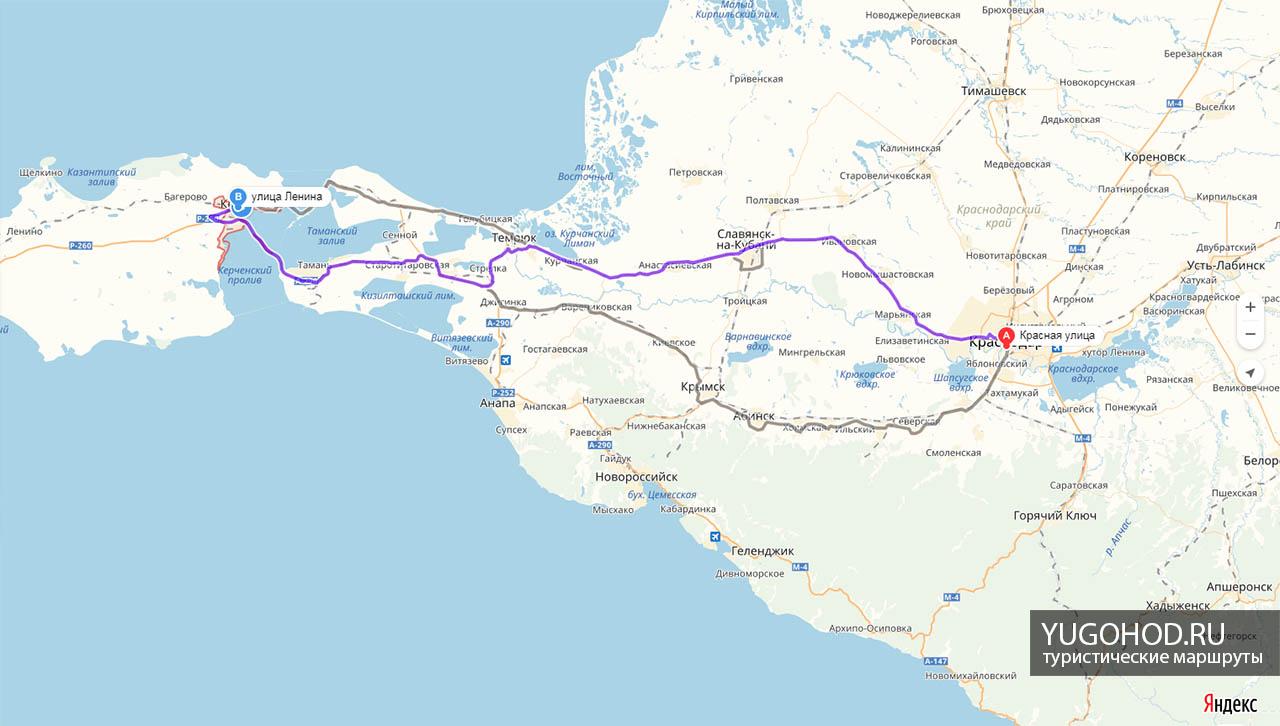 карта краснодар-керчь