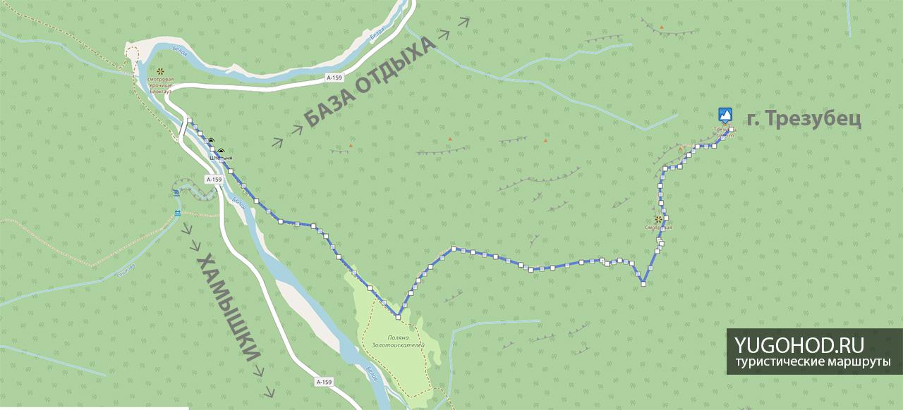 гора Трезубец карта