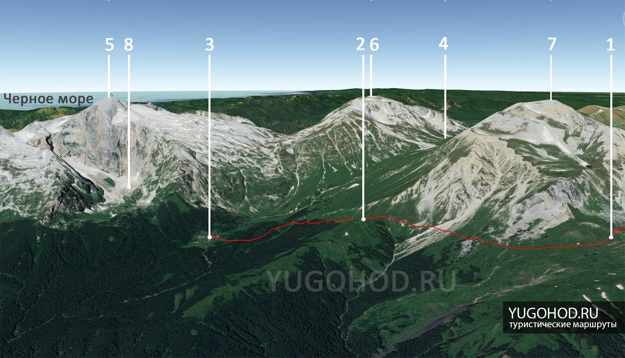карта маршрута приют фишт 2